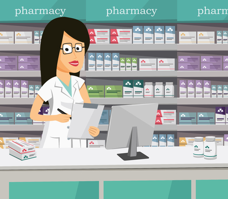 Pharmacist chemist woman in pharmacy. Sale of vitamins and medications. Funny vector illustration.