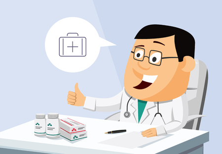 Funny, optimistic, experienced, doctor, sitting in private practice. Vector illustration. Vector Illustration