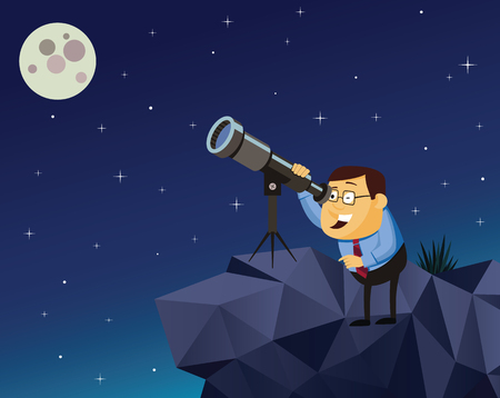 Man on the hill watching the moon and stars. Business Plan. Vector illustration.