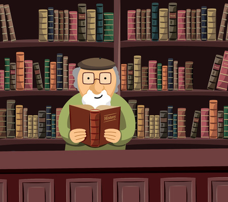 A wise old librarian is reading a book in a historical library. Funny simple vector illustration. Ilustrace