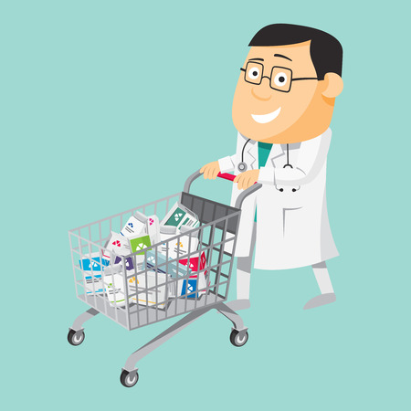 Funny cartoon doctor carries pills for patients. Shopping cart. Penicillin. Vaccination. The best medical health care. Simple vector illustration.