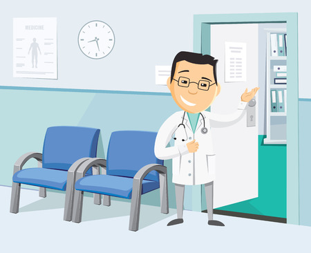 The best medical health care. Funny doctors private practice. Health Center. Vaccination. Waiting room at the doctor. Simple cartoon vector illustration.