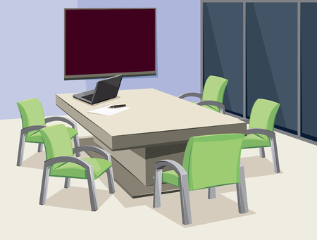 Interior of conference room. Company staff training. Empty office with laptop and blackboard. Vector cartoon illustration.