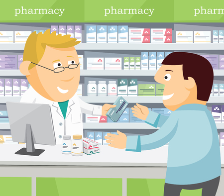 Pharmacist chemist man in pharmacy. Man buys drugs at the pharmacy. Sale of vitamins and medications. Cartoon funny vector illustration.