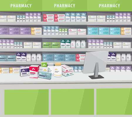 Modern interior pharmacy and drugstore. Sale of vitamins and medications. Cartoon vector illustration.
