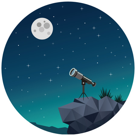 Romantic night sky with stars, moon and binoculars. Our dreams and goals. Vector illustration.