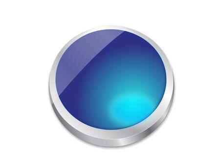 orbs: Blue shiny vector metal button