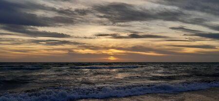 Atlantic Sunset with clouds in Cadiz.