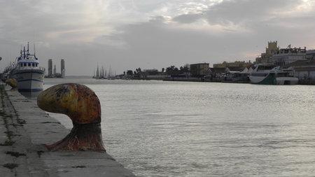 Bollard on the Guadalete River in the Port of Santa Maria