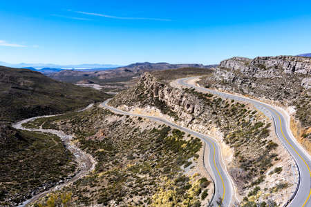 Route 40 from the height in Patagonia Argentina, curves to travel by car