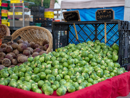 Brussels sprouts for sale at farmers market