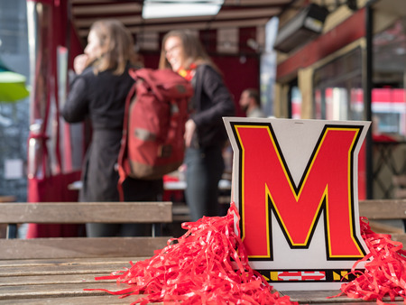 SAN FRANCISCO, CA - MARCH 19, 2018: University of Maryland, College Park (Terrapins) card display and decorations at an alumni event. Editorial