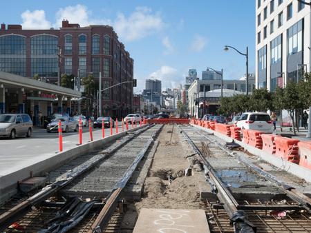SAN FRANCISCO, CA - MARCH 16, 2018: San Francisco Municipal Transportation Agency (SFMTA) constructing new light rail routes along 4th and King St.