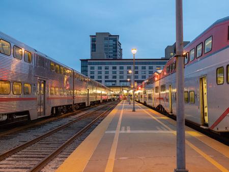 SAN FRANCISCO, CA – APRIL 28, 2018: First trains departing at the San Francisco 22nd CalTrain station