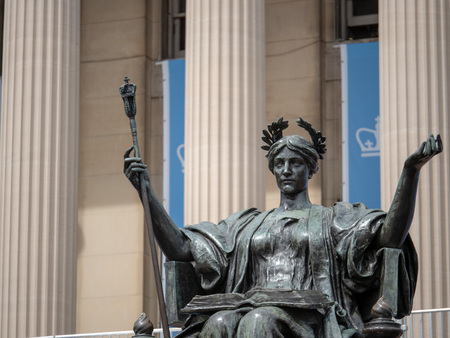 NEW YORK, NY – May 11, 2018: Alma Mater statue outside of Columbia University library Editorial