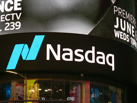 NEW YORK, NY – MAY 16, 2018: NASDAQ MarketSite location at Times Square. This is the commercial marketing presence of the NASDAQ stock market