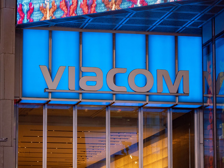 NEW YORK, NY – MAY 16, 2018: Viacom logo at their Times Square headquarters entrance