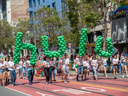 Hulu balloon banner at LGBT festival on sunny day