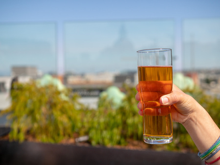 Womans hand holding glass of IPA beer on a rooftop bar in summer 版權商用圖片