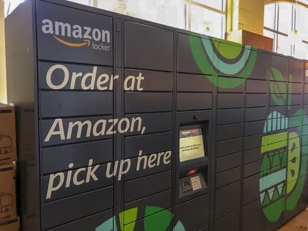 Amazon Locker sitting inside a Whole Foods location in Washington, DC