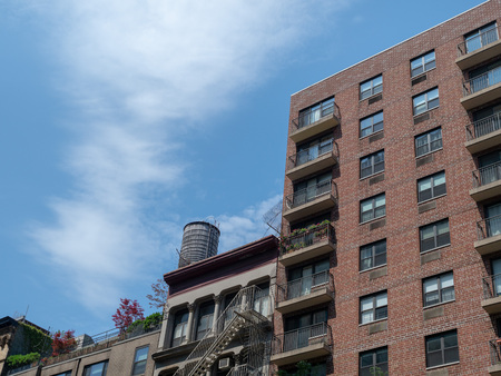 New York City apartment building fire escape and terraces