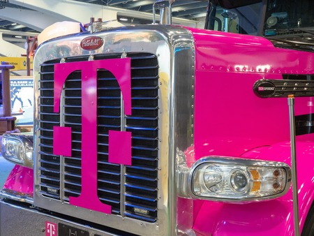 T-Mobile logo on grille of truck at Salesforce Dreamforce conference