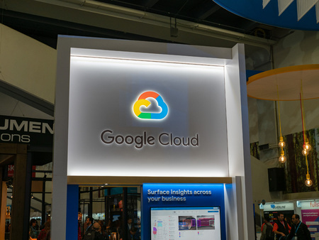 Google Cloud light up sign at Salesforce Dreamforce conference