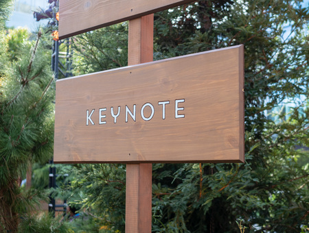 Keynote wooden sign post providing direction