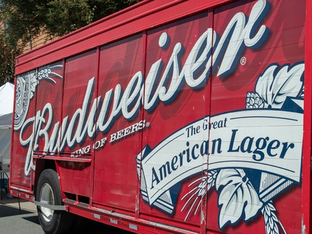 Budweiser, king of beers fright truck parked on street Editorial