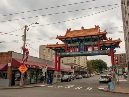 Historic Chinatown Gate in the International District of Seattle Editorial