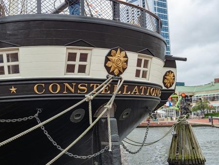 USS Constellation frigate war ship docked in Baltimore Inner Harbor
