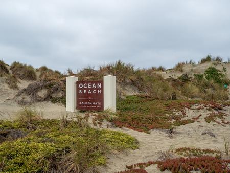 Ocean Beach entrance sign at Golden Gate National Recreational Area park Editorial