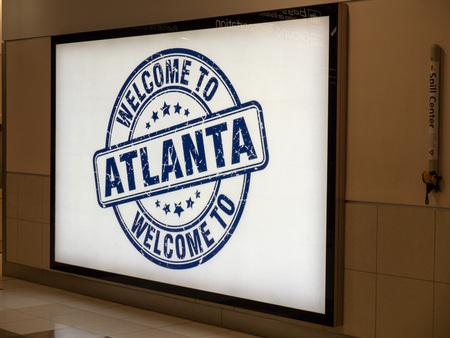 Welcome to Atlanta banner at Hartsfield Jackson Atlanta International Airport Editorial