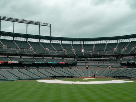 Infield view of Camden Yards, stadium of the Baltimore Orioles, empty in the offseason Editorial
