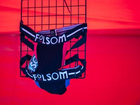 Folsom branded banana hammock underwear bulge for sale at Folsom Street Fair Editorial