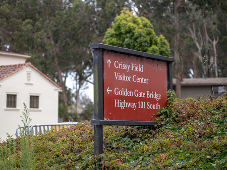 Crissy Field and Golden Gate bridge direction sign Editorial
