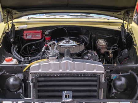 Edelbrock engine block sitting in a classic Chevy car