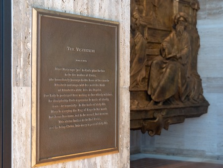 The visitation plaque story and mural at Cathedral Of Saint Mary Of The Assumption
