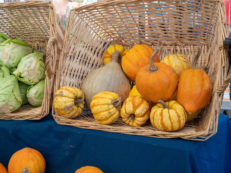Pumpkins of small sizes sitting in basket next at market next to produce