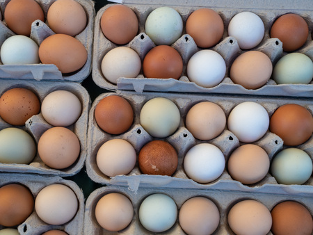 Overhead view of dozen of white and brown eggs sitting in carton
