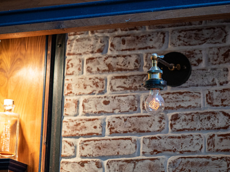 Incandescent rustic light bulb with stylized filament hang on brick wall
