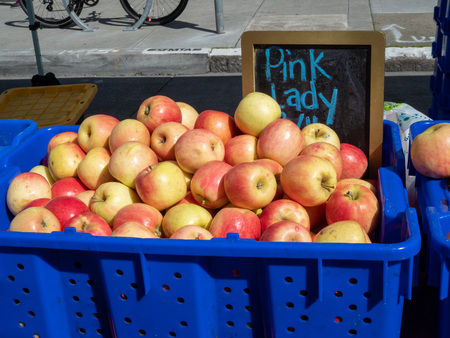 Pile of pink lady apples in blue cart on sunny day at outdoor market