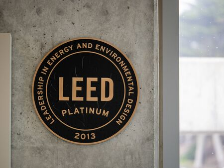LEED platinum building certification on concrete wall on National Park Service building