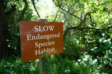 Slow endangered species habitat sign in forest area, protected nature