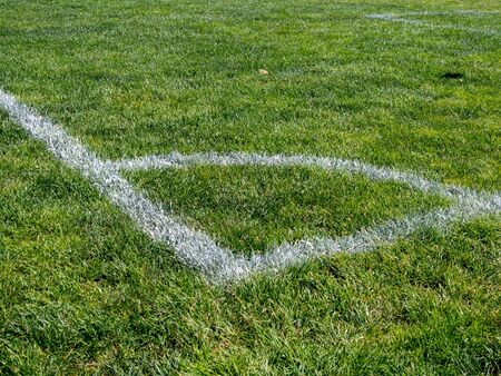 Painted corner of sports field of soccer, lacrosse, field hockey, game Stock fotó