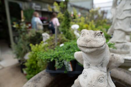 Stone frog sculpture in garden area with women walking background Stock fotó