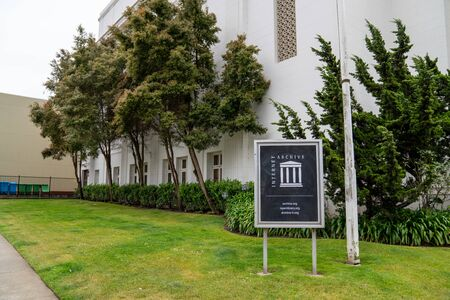 Internet Archive sign and logo outside of headquarters building