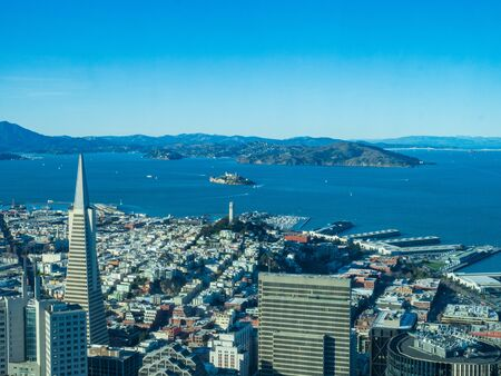 View of San Francisco city and San Francisco Bay cityscape from the highest vantage point in city Stock Photo