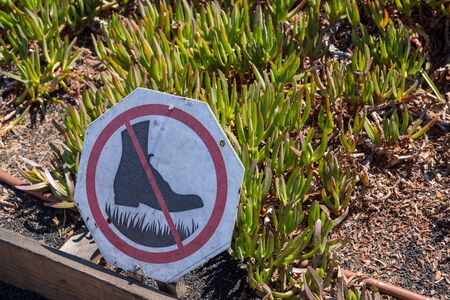 No walking boot cross out sign in front of garden with plants growing Imagens