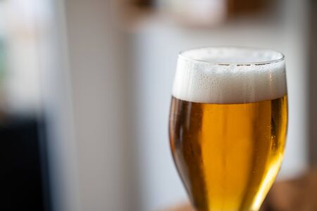 Detailed shot of glass filled with freshly poured foamy golden beer Imagens